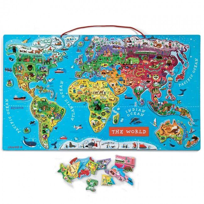 Janod World Map.Janod Magnetni Zemljevid Sveta Darila Otroci Map Puzzle World