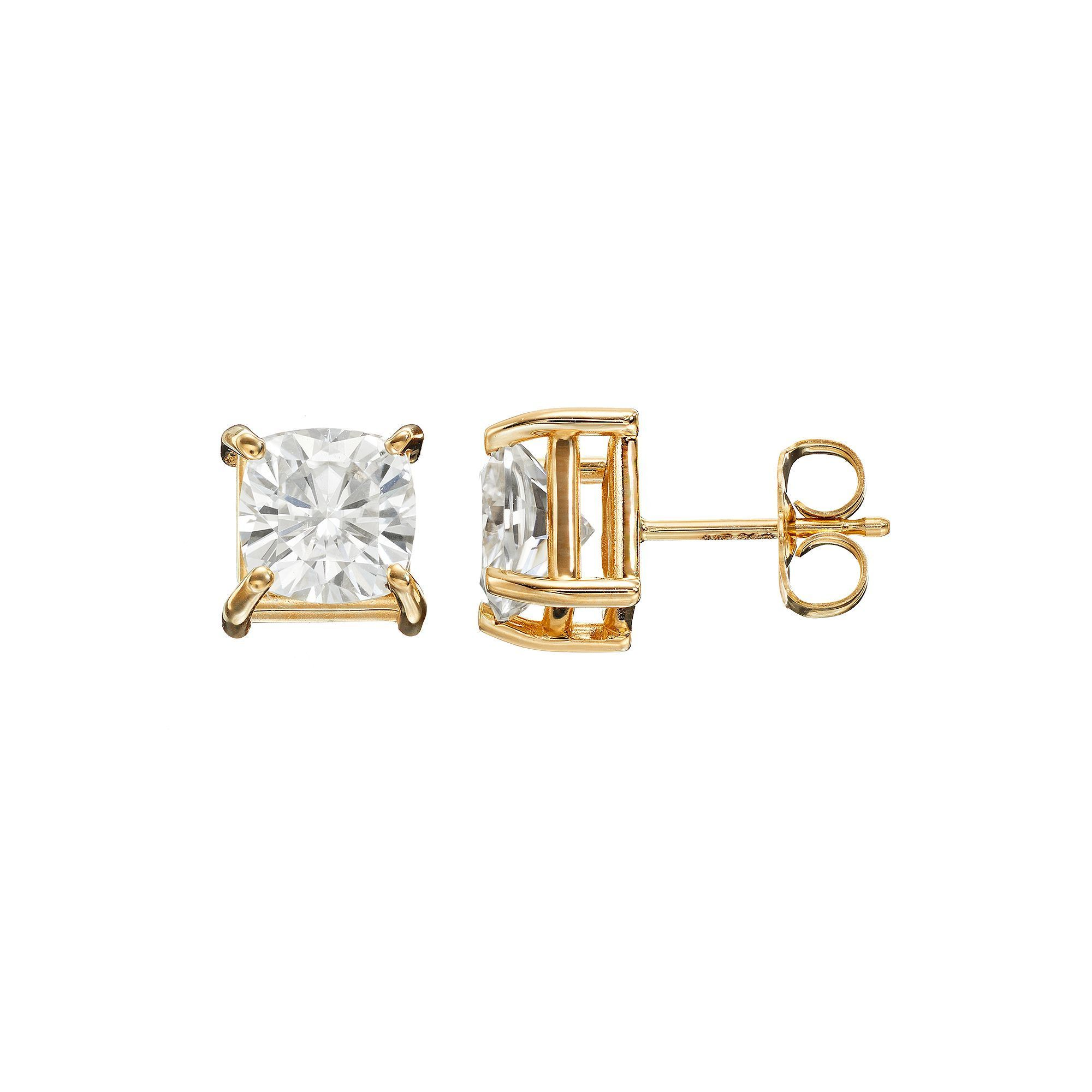fleur products earrings moissanite premium cushion earring lis fine de moissy jewellery