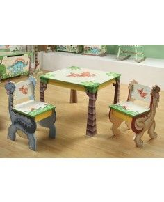 Wooden Dinosaur Kids Fun Activities Table /&Chairs Furniture Set Playroom Nursery