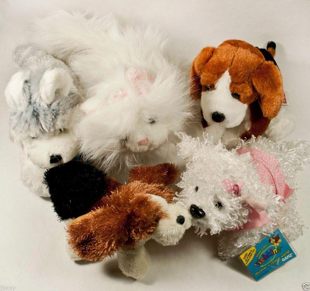 (5) Ganz WEBKINZ plush WHITE TERRIER beagle Lil BASSET