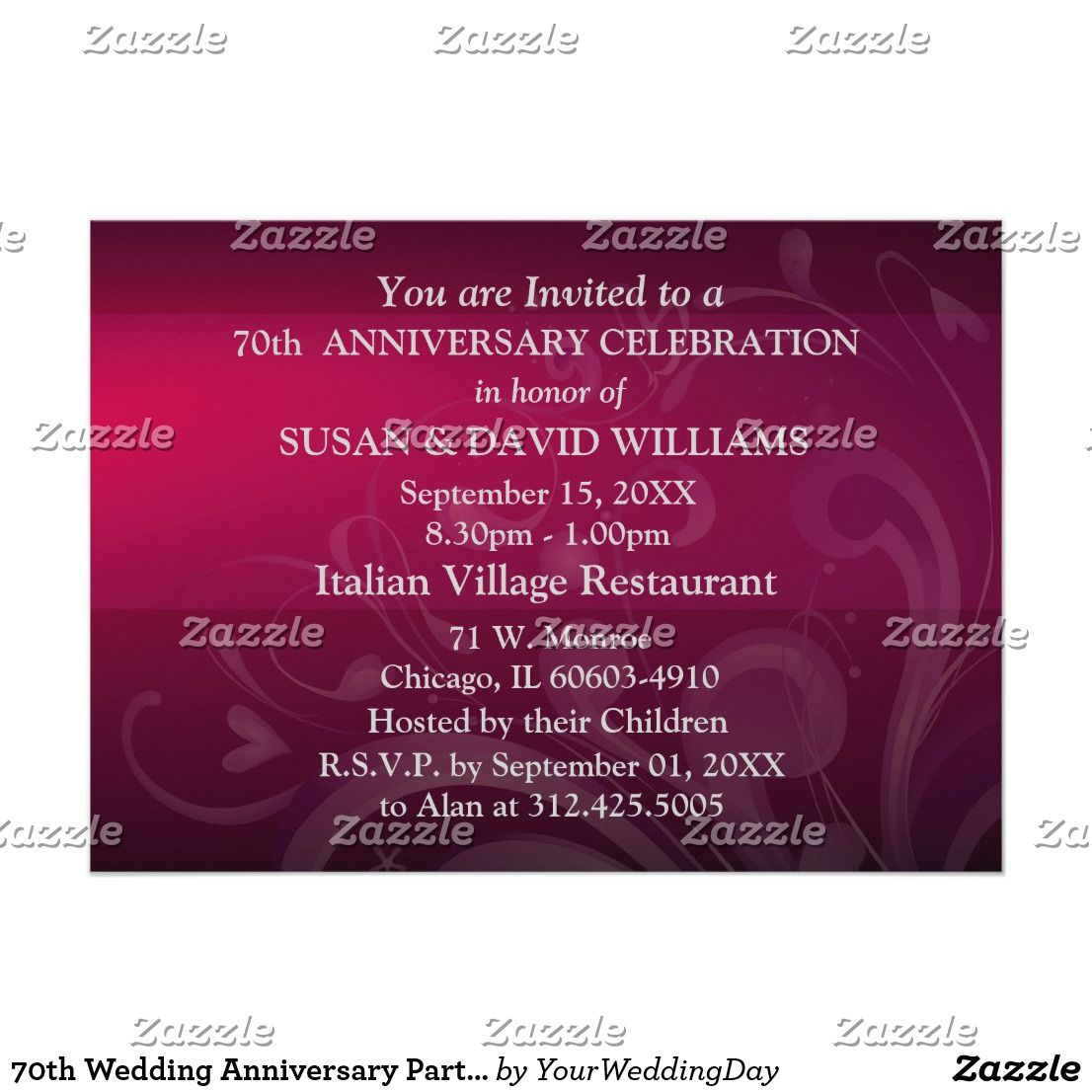 70th Wedding Anniversary Party Invitations