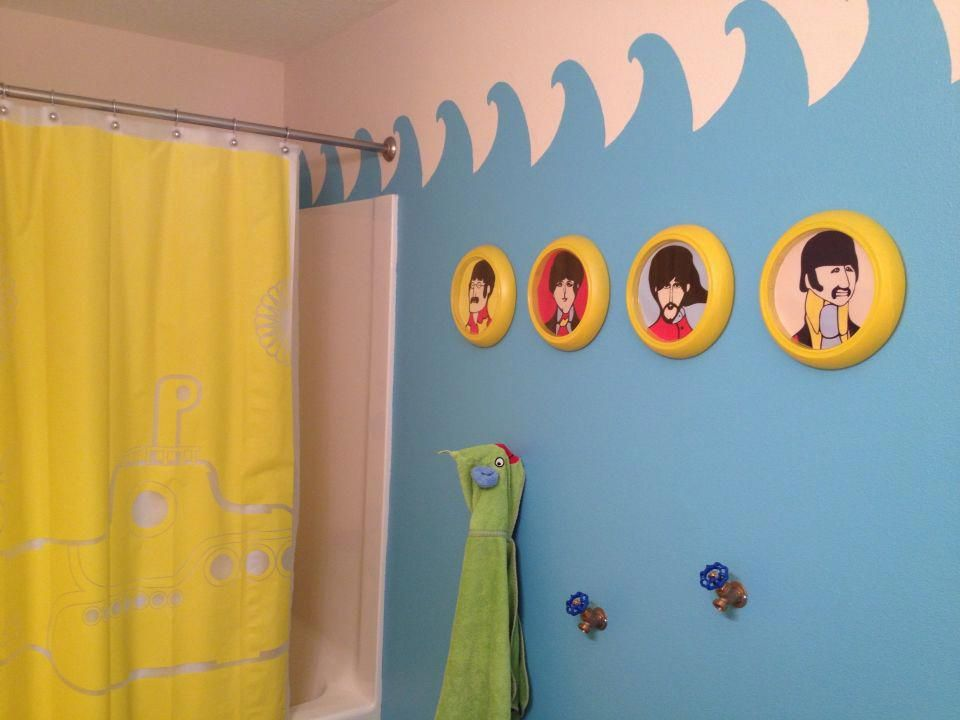 Kids Yellow Submarine Bathroom Beatles Decor Homedecorretro