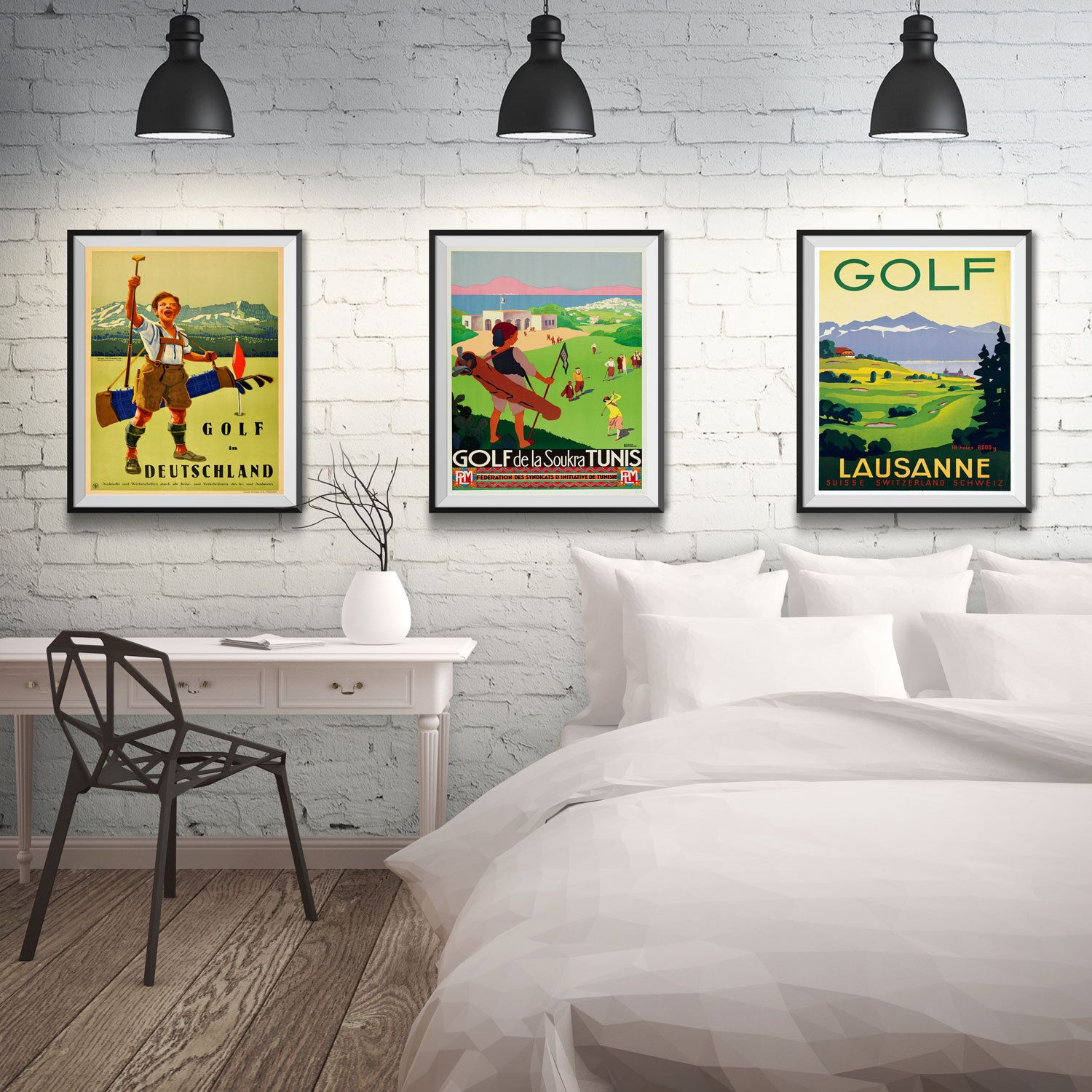 Golf Posters Golf Gifts Golf Wall Art Set Of 3 Vintage Golf Prints Luasanne  Switzerland Germany