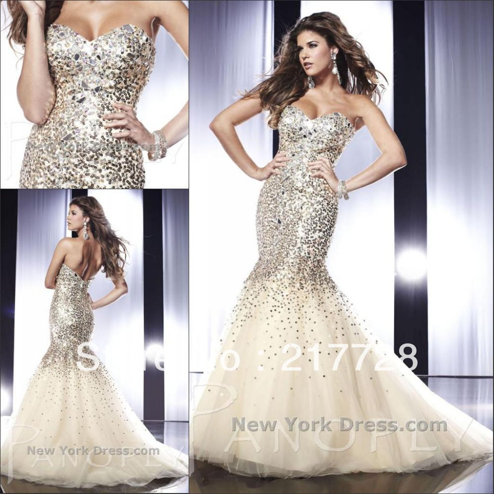 Free shipping sweetheart tulle sequins decorated mermaid prom