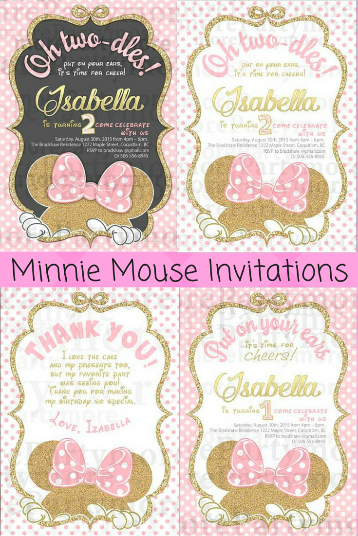 Black Gold Pink Minnie Mouse Birthday Invitation And Thank You Cards Ad