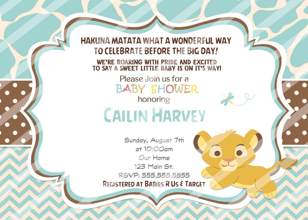 Chevron Baby Simba Baby Shower Invitations Blue | Simba baby shower ...