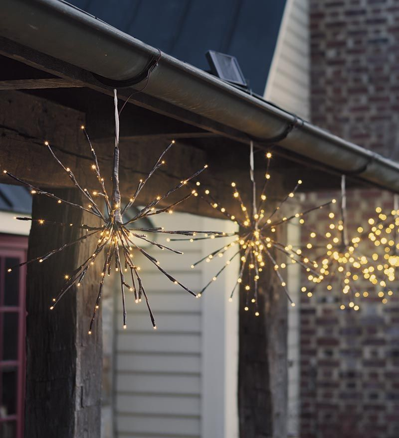 hanging solar twig lights set of 2 outdoor christmas on awesome deck patio outdoor lighting ideas that lighten up your space id=89799