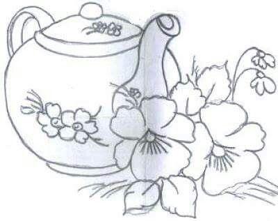 Cafetera Y Flores Pintar En Tela Patrones De Bordado Dibujos En Tela