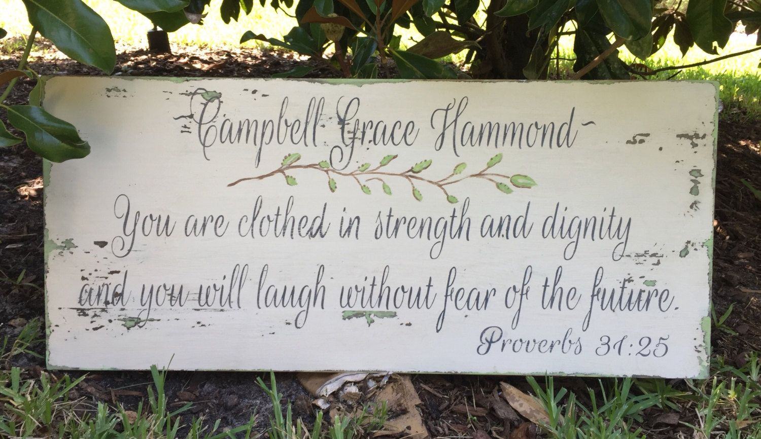 Nursery sign, Baby girl, You are clothed with strength and dignity, Scripture, Proverbs 31, Distressed, Wooden Signs, Rustic, Personalized by RescuedandRepurposed on Etsy