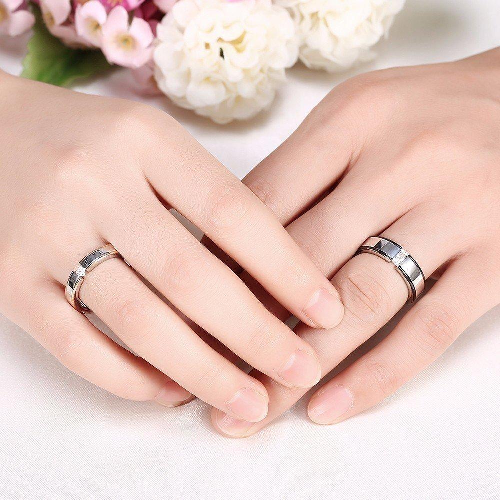 Sweet Couple Ring Heart Zircon Stainless Steel Women Men Ring ...