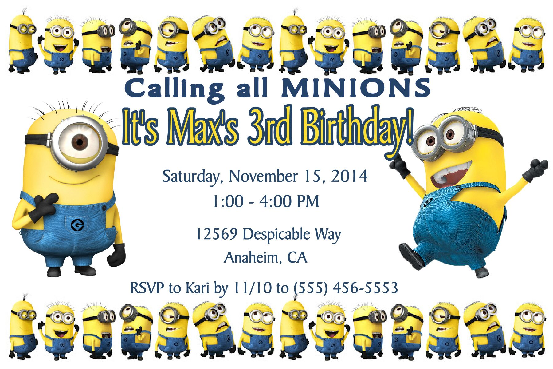 Minion Birthday Invitation. Click on the image twice to place orders or follow me on facebook. or email me at the address in BIO.