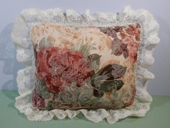 11 x 14 Garden Roses Accent Pillow Lace Trim Mauve Pink by 2lewa