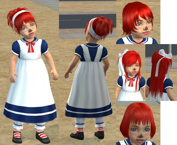 Mod The Sims - Raggedy Ann Toddler Costume