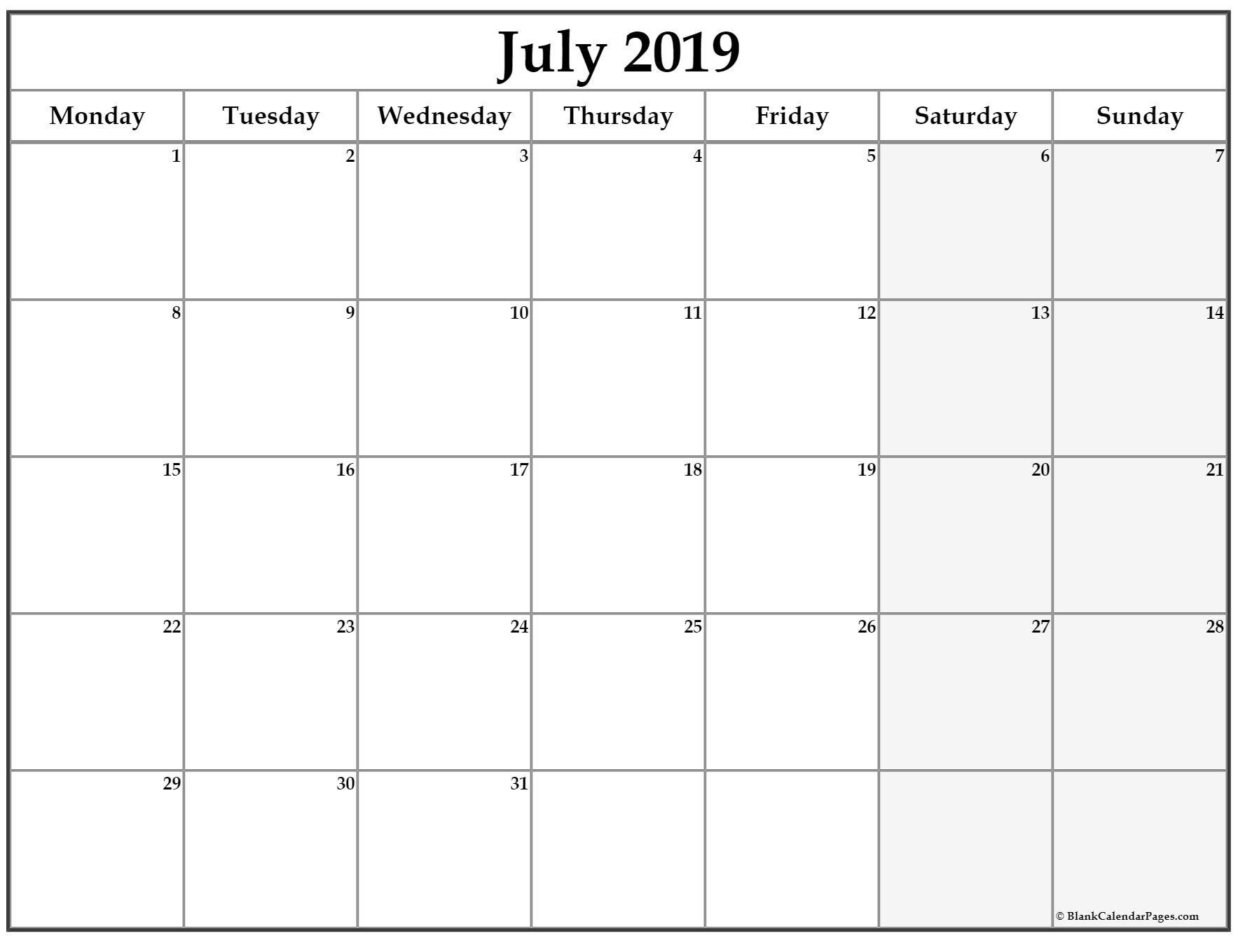 July 2019 Monday Calendar Monday To Sunday Calendar Printables Monthly Calendar Template Monthly Calendar Printable