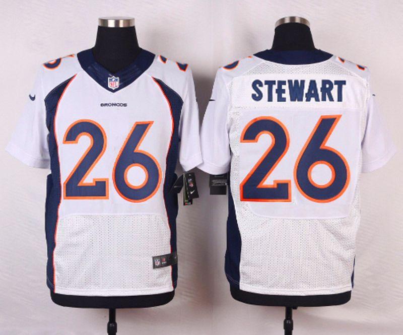 Hot NFL Customize Denver Broncos 26 Stewart White Men Nike Elite Jerseys  free shipping