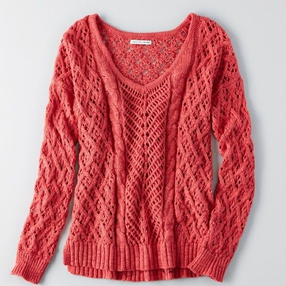 NWT knit AE sweater Super cute! American Eagle. Just got the wrong size so I'm selling. Brand new with tags American Eagle Outfitters Sweaters Crew & Scoop Necks
