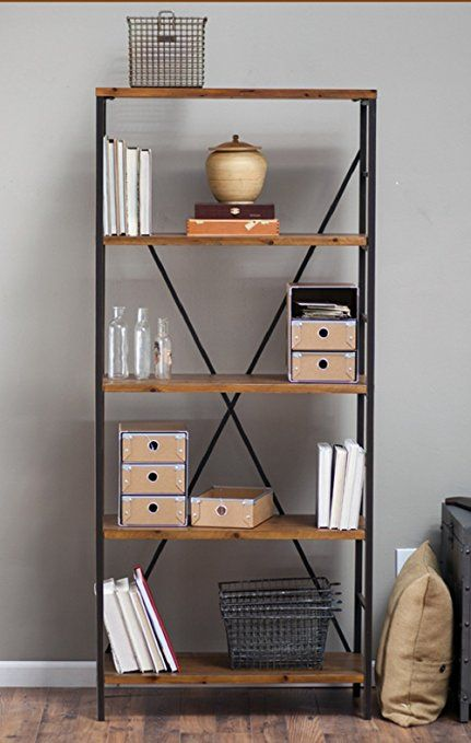 265 Rustic Wood Bookcase With Adjustable Shelves Featuring An Industrial Factory Look 100 Satisfaction Gua Metal Bookcase Bookcase Design Rustic Bookcase