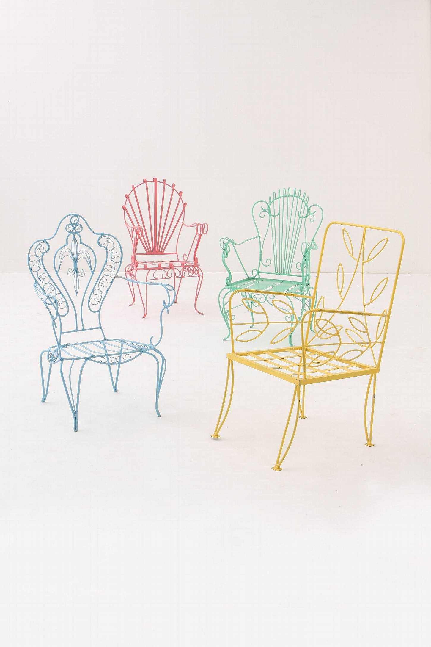 Flores Lawn Chair Pink Leaf Metal Patio Chairs Colorful Chairs Iron Chair
