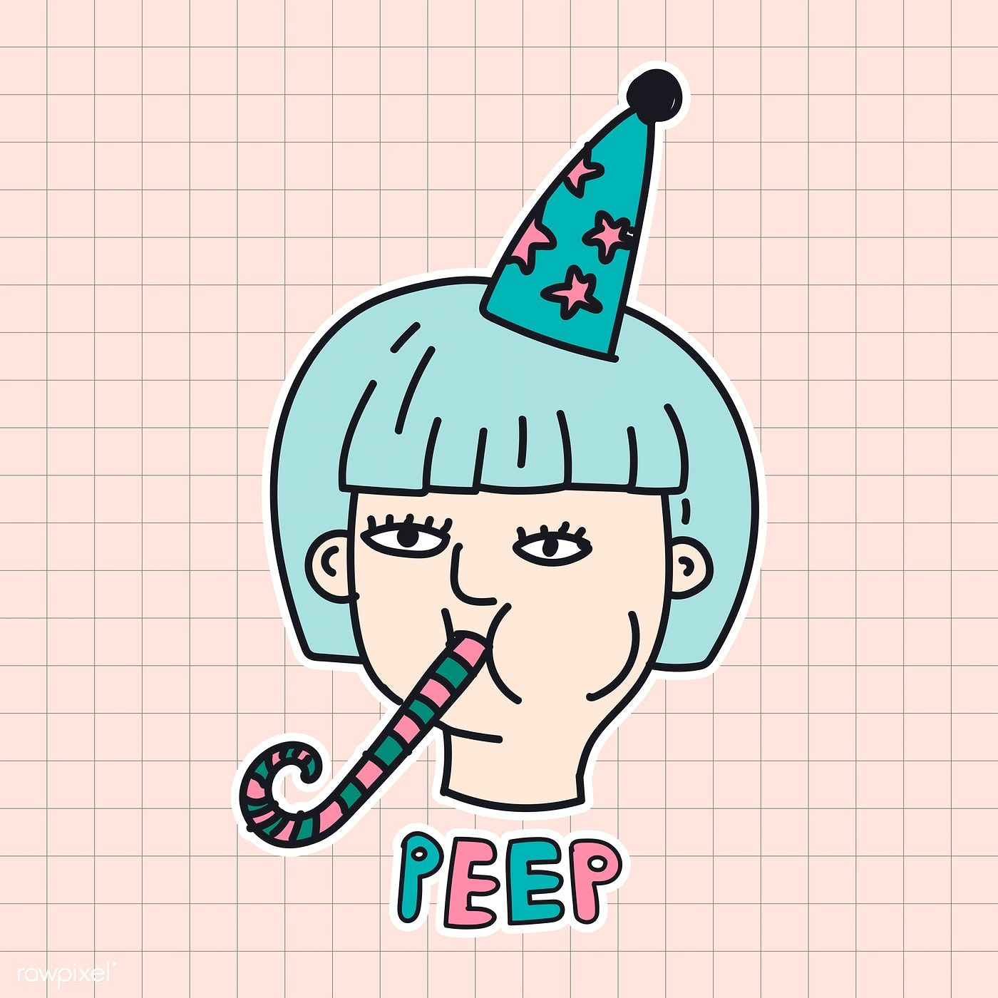 Download Premium Illustration Of Hand Drawn Woman With A Party Blower Party Blowers Seasons Greetings Card New Year Card Design