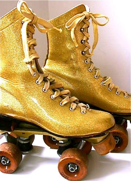 Items Similar To Vintage Gold Sears Roller Skates Size 5 On Etsy Roller Skates Decorated Shoes Vintage Gold