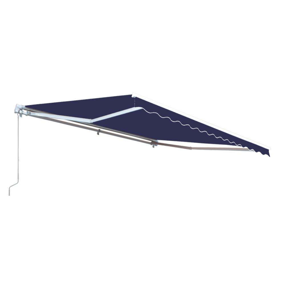 Aleko 16 Ft Motorized Retractable Awning 120 In Projection In Dark Blue Awm16x10blue30 Hd The Home Depot Patio Awning Retractable Awning Fabric Awning