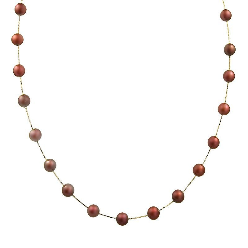 14k Gold Dyed Freshwater Cultured Pearl Station Necklace, Women's, Red