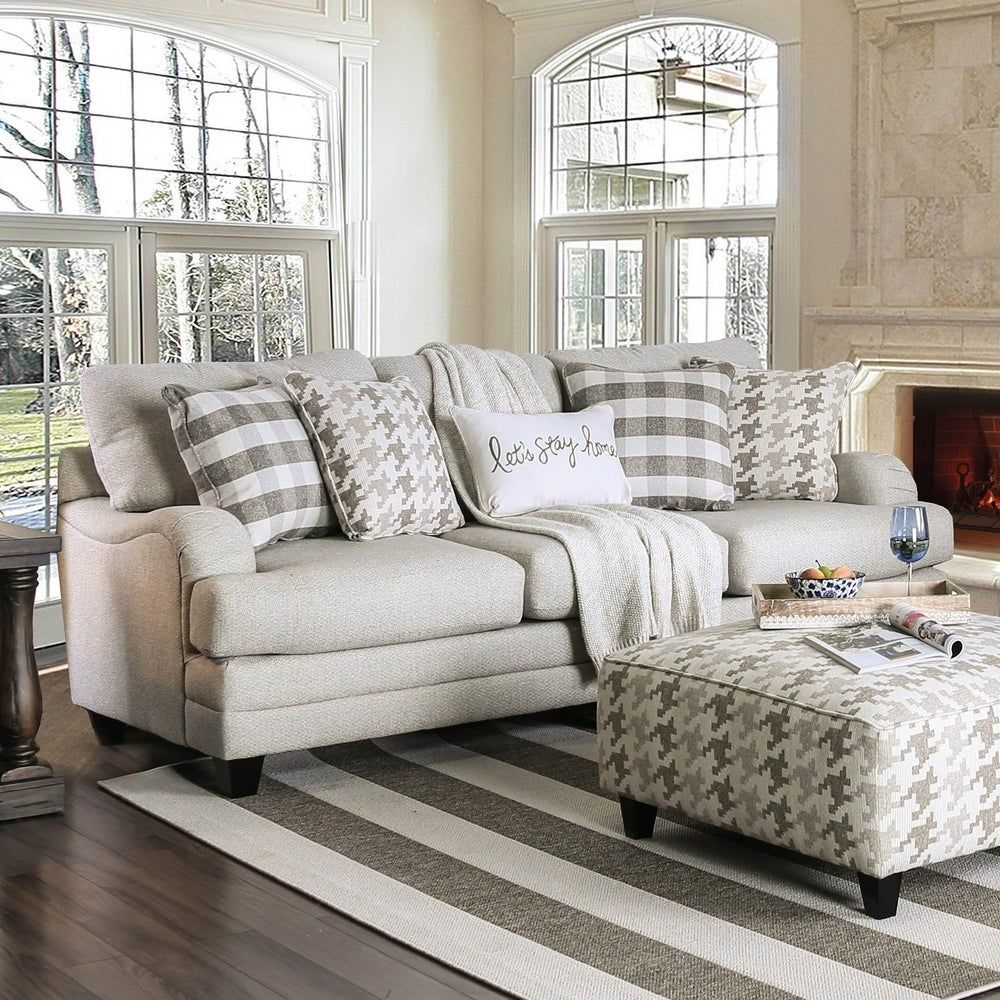 Furniture Of America Zito Transitional Grey Linen Fabric Padded