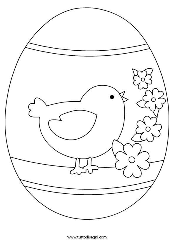 Uovo Di Pasqua Con Pulcino Da Colorare Tuttodisegni Com Páscoa