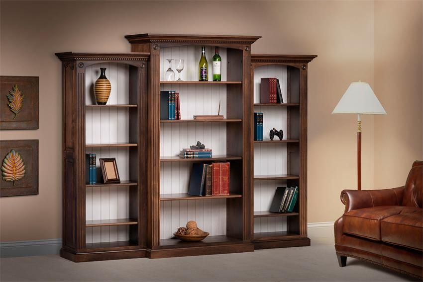 Basic Design Solid Wood Amish Deluxe Bookcase With Raised Panel Sides 3 Piece Set