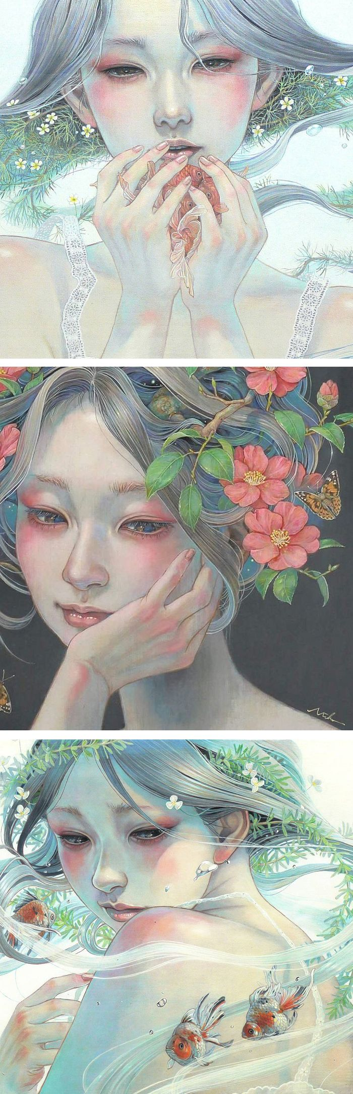 Photo of Delicate Japanese Oil Paintings of Ethereal Woman Submerged with Nature