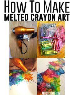 How to make melted crayon art on canvas! (Colocando uma silhueta no meio, pintando por cima fica lindo)