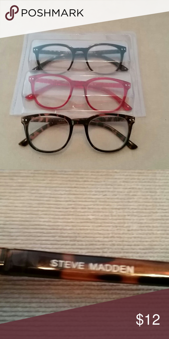 03e84683962a 3 pair Steve Madden reading glasses New, never worn, set of 3 red, black  and tortoise shell, 1.5x magnification, cute! Steve Madden Accessories  Glasses