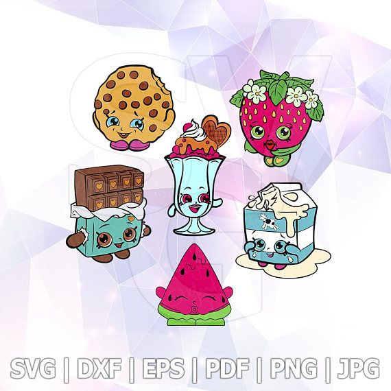 SVG Shopkins Cut Files Cricut Silhouette Cameo Party Supply Melonie Pips Cheeky Chocolate Kooky Cookie Spilt