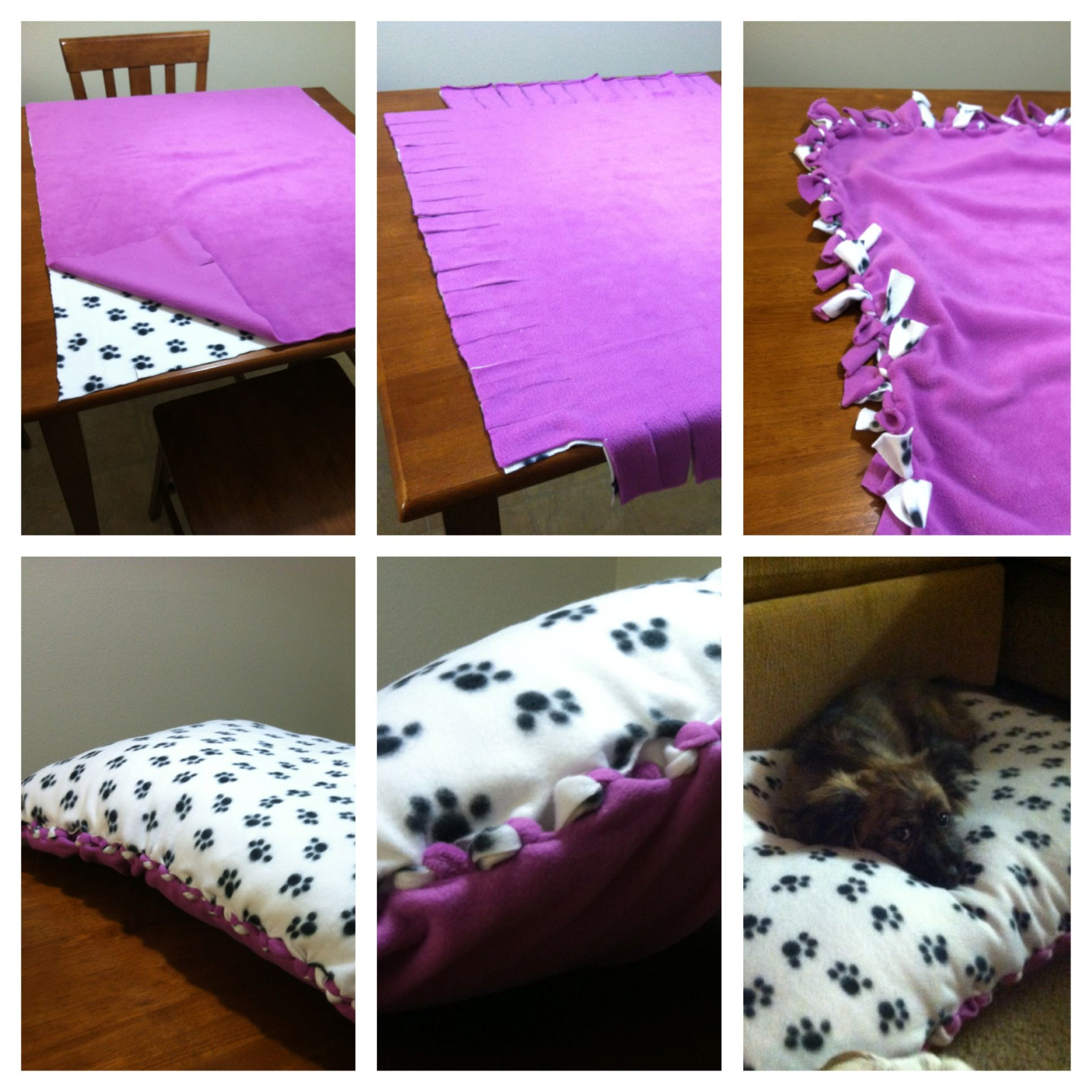 diy doggy bed with fringe inside, so the pup doesn't chew