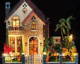 Kit wood dollhouse miniature diy house w music new large villa