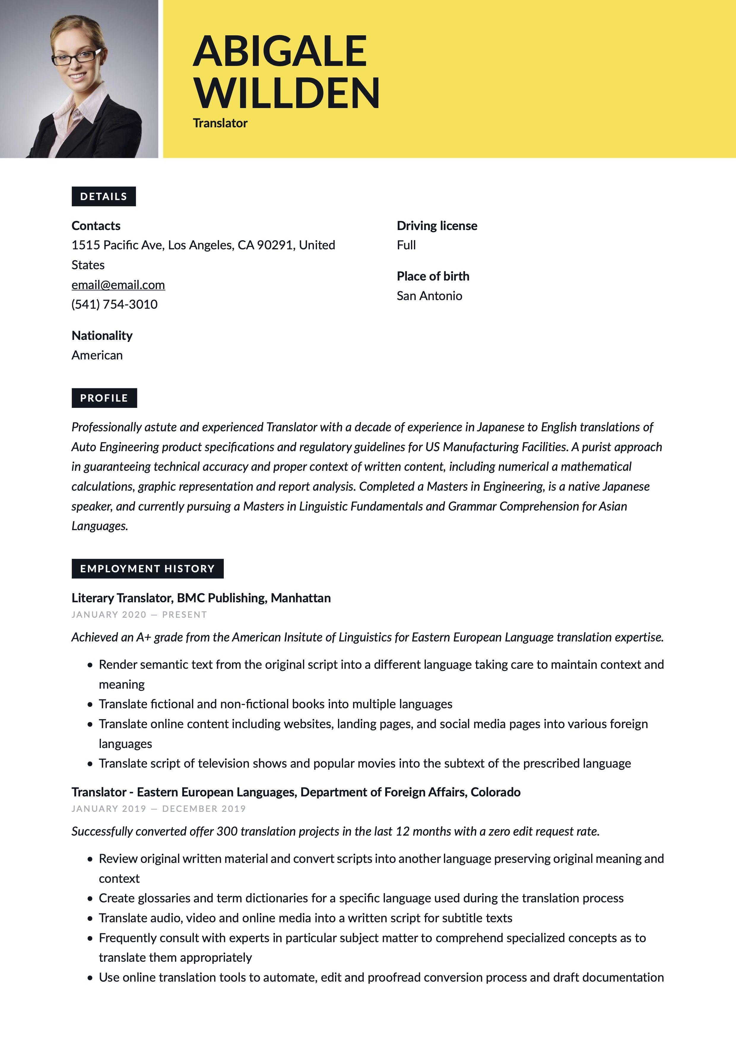 Traslator Resume Template Guided Writing Resume Writing Resume