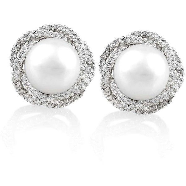 Diamond Halo Nest and Pearl Earrings (167 700 UAH) ❤ liked on Polyvore featuring jewelry, earrings, joias, pearl jewelry, white pearl earrings, 18k earrings, 18 karat gold jewelry and pearl earrings jewellery