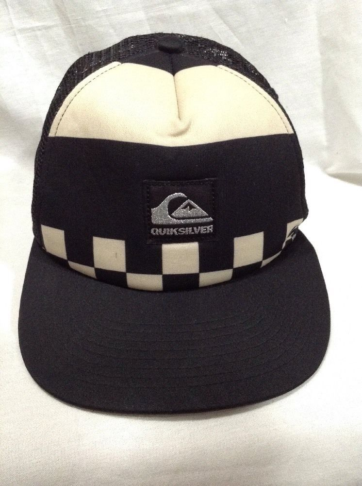 e24296dcab126 Quiksilver Black Beige Checkered Foam Trucker Ball Hat Snapback Golf Cap  Surf  Quiksilver  BaseballCap