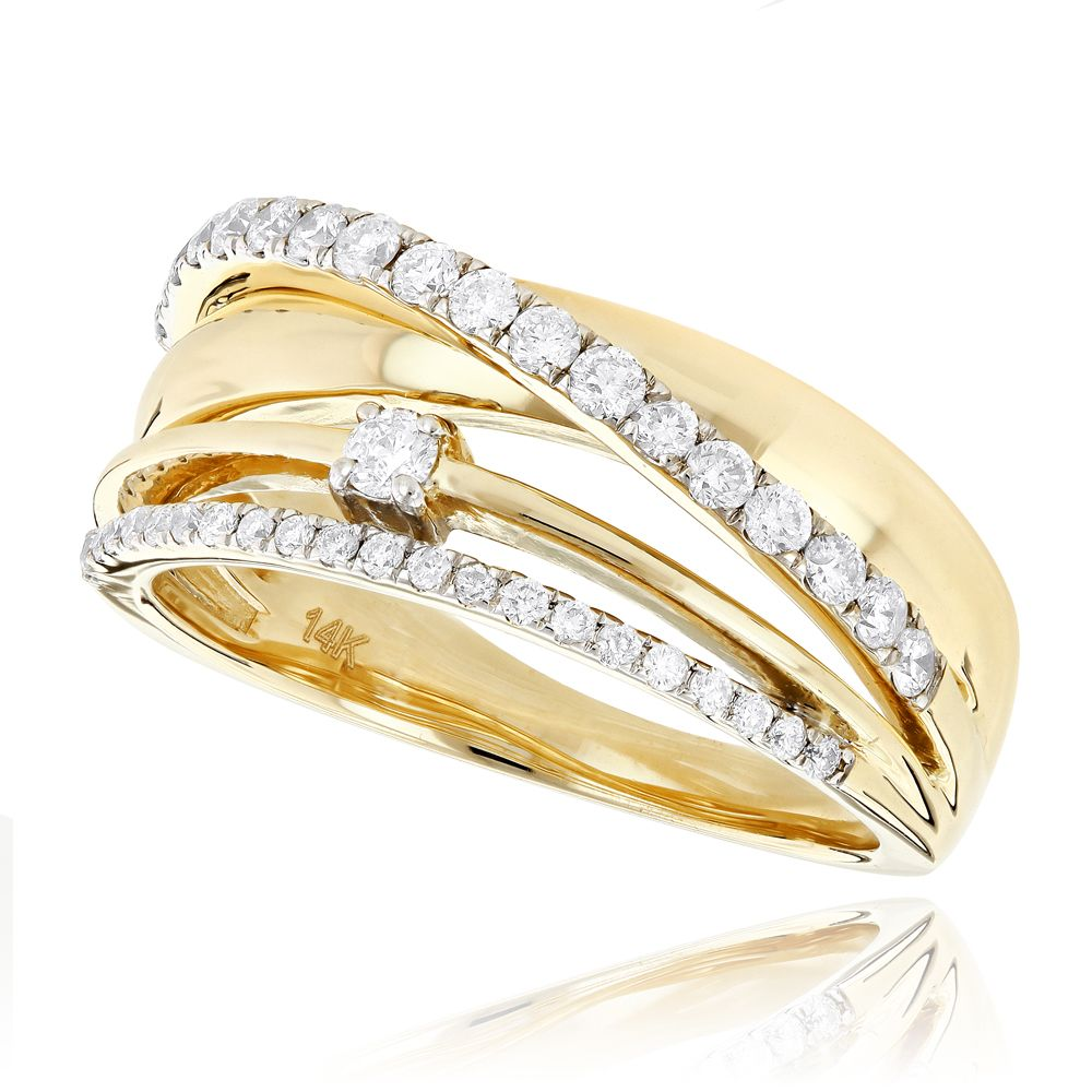 Designer Right Hand Diamond Ring For Women 0 55ct 14k Gold