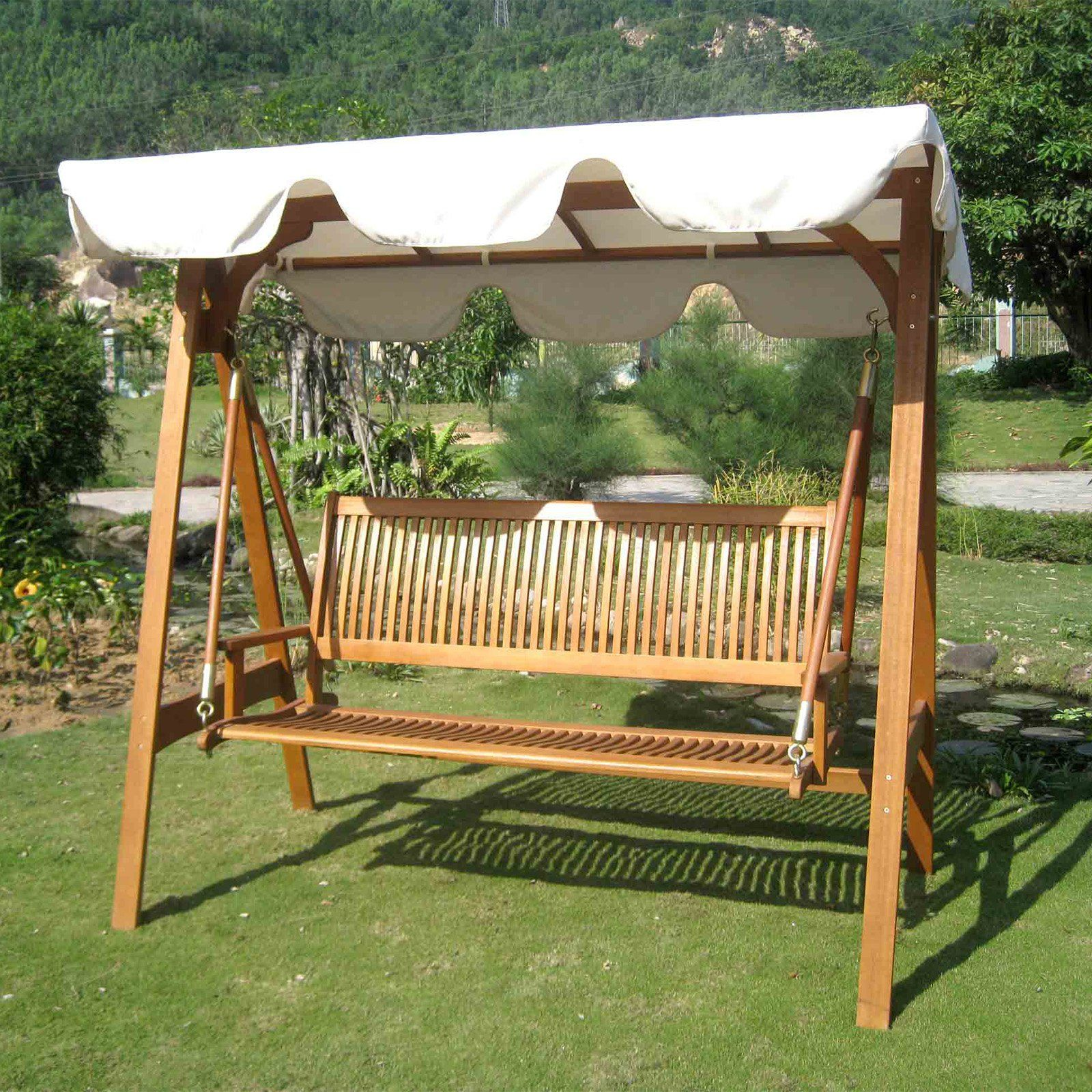 International Caravan Royal Tahiti 3 Seater Patio Swing with Frame and Canopy | from hayneedle.com & International Caravan Royal Tahiti 3 Seater Patio Swing with Frame ...