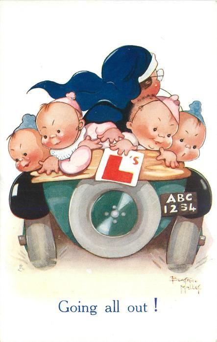GOING ALL OUT!  nurse drives away with five babies in back of car, one holds L card, number plate ABC1234