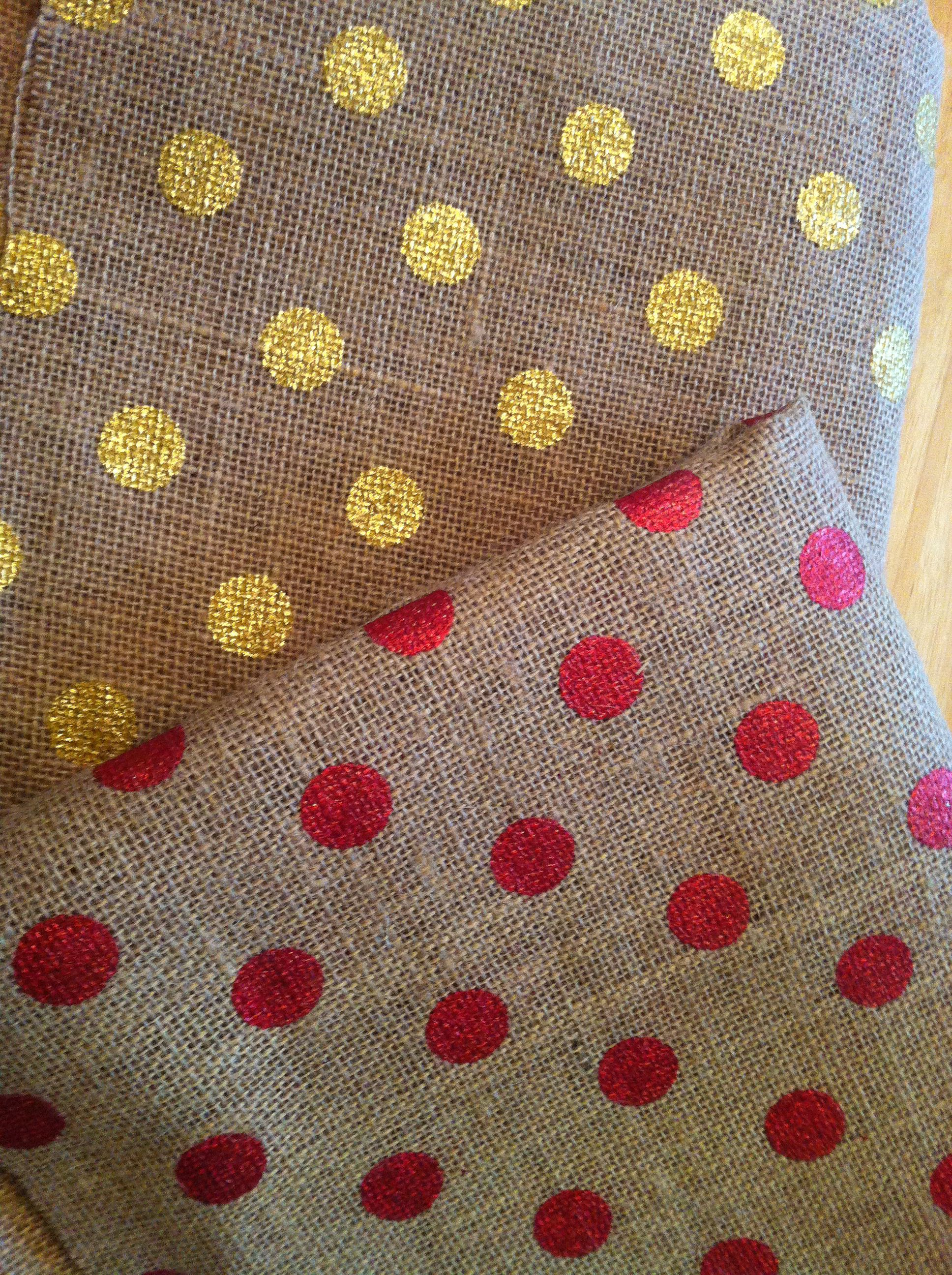 Metallic dot burlap from Jo-Ann Fabrics