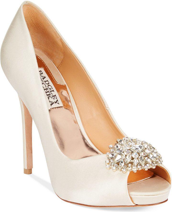https://goo.gl/eYcRvZ #weddinghour #weddingdress #Ido Badgley Mischka Jeannie Peep-Toe Pumps