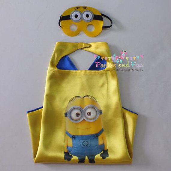 Minion Party Favors, Minion Cape, Minion Birthday Party Favors, Minion Favors, Minion Birthday, Minion Mask This listing is for ONE (1) minion cape