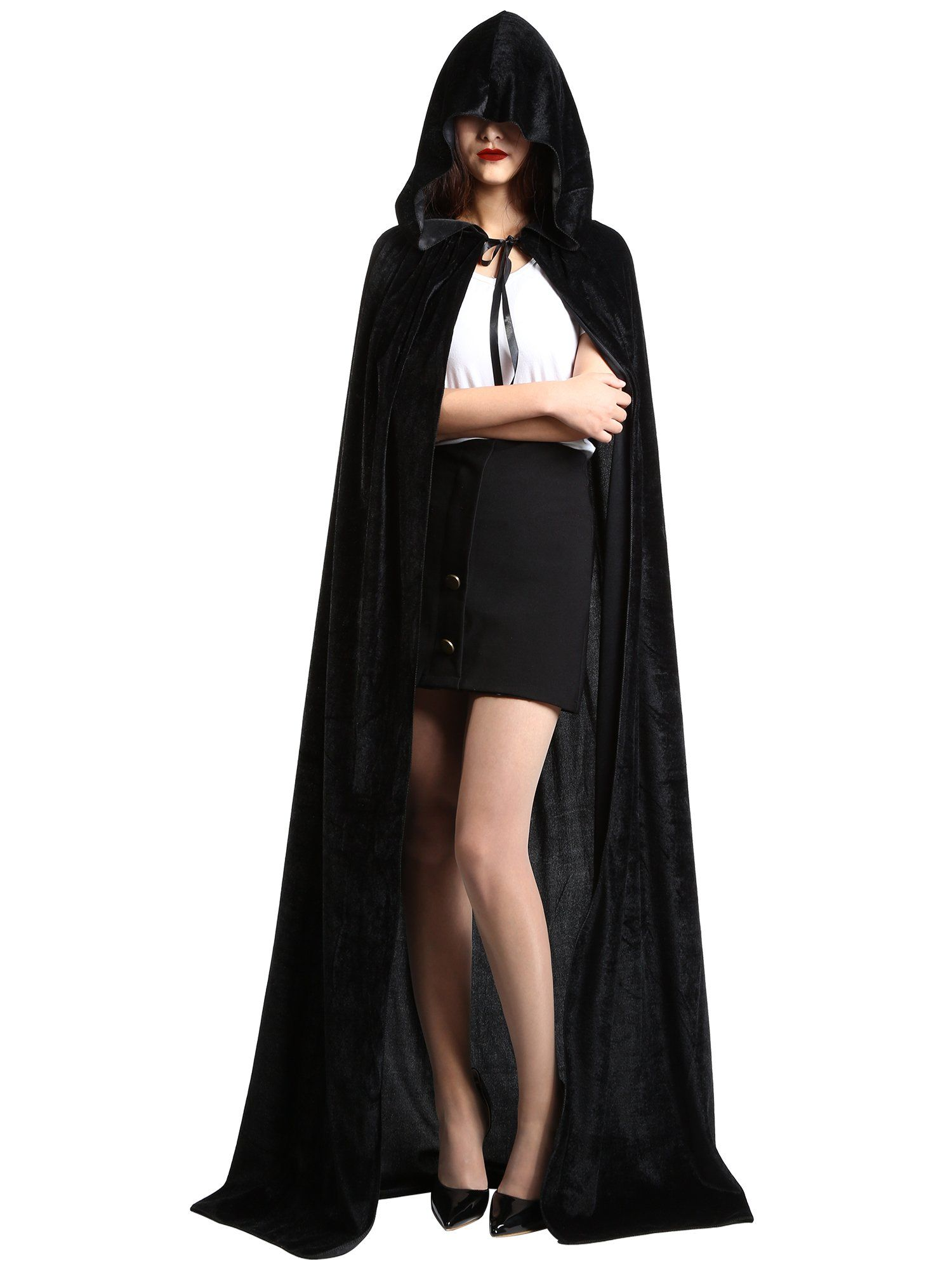 halloween costumes 2016 satinior unisex full length hooded cloak adult velvet cape halloween party cosplay costume cloak l size velvet black
