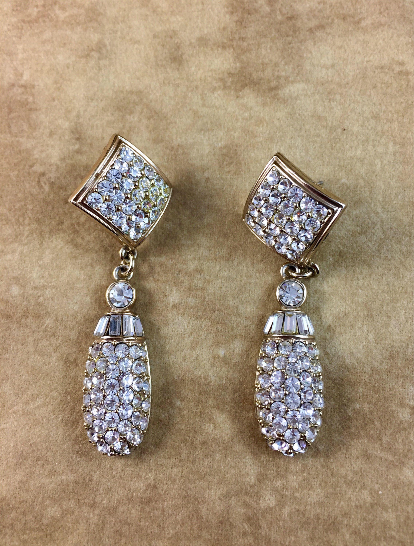 Vintage Teardrop Dangle Earrings Costume Diamond Studded Jewelry Pinterest Dangles Costumes And Stud