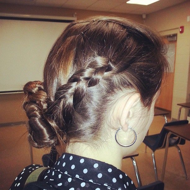 Photo by blazesymone katniss braid to the sidethen I pinned it up (':