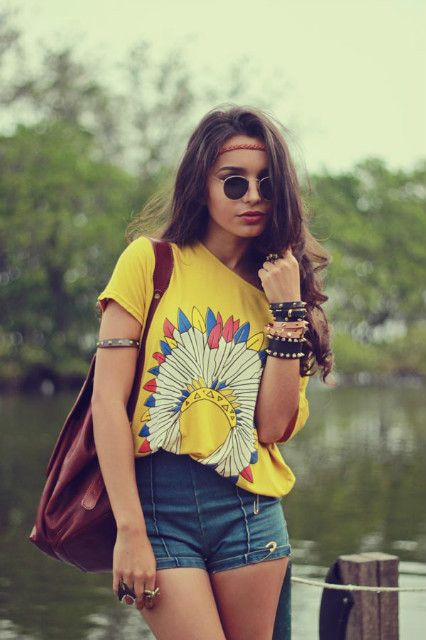 Denim shorts and yellow head-dress tshirt with stacked bracelets #festivaljewellery #jillybeads