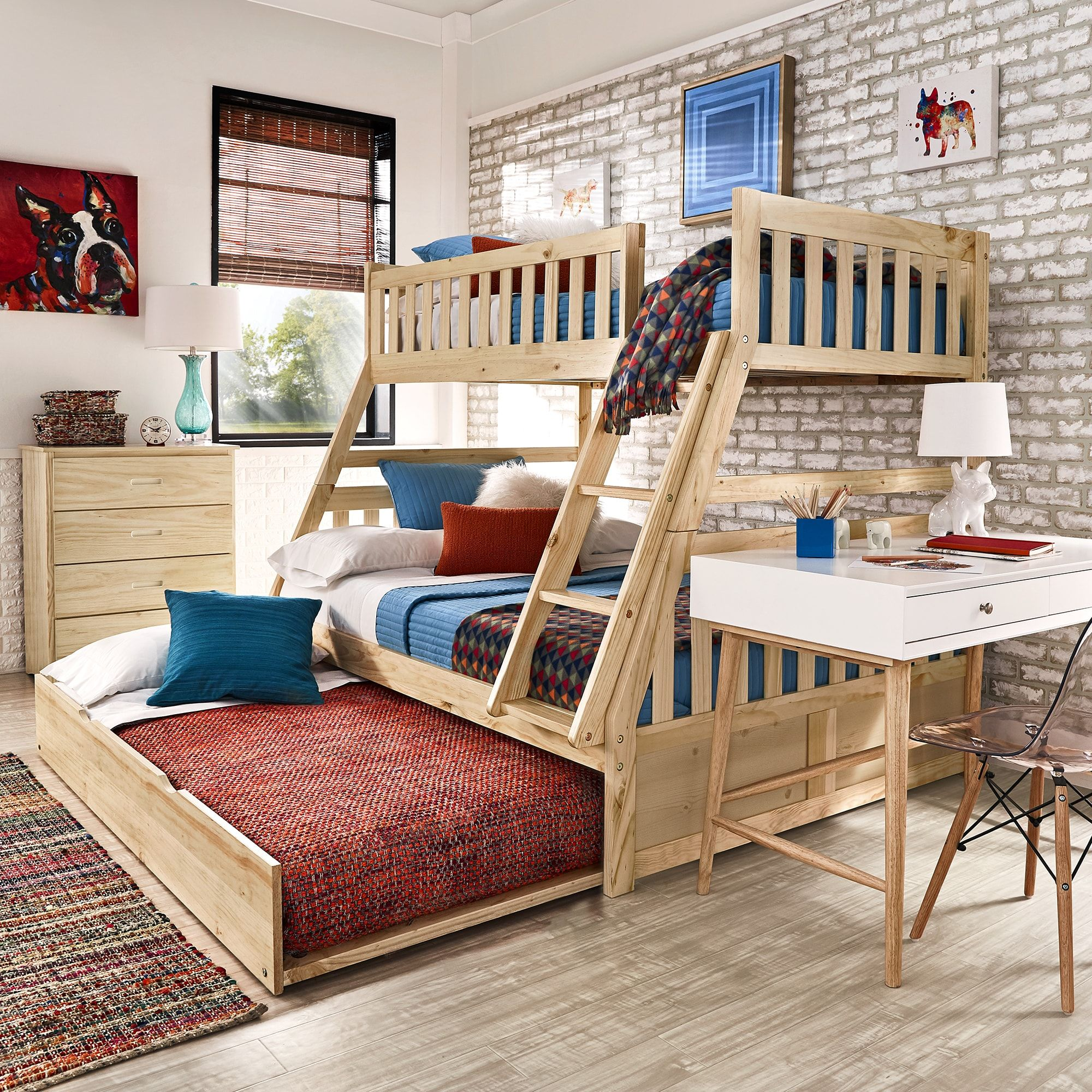 Hunter Twin over Full Natural Wood Bunk Bed by iNSPIRE Q