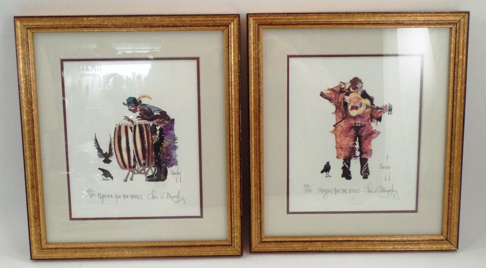 Framed S/N Charles Murphy Watercolor Prints Playing for the Birds ...